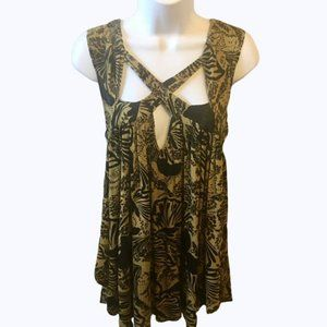 Free People Olive Black Floral Strappy Tank Med